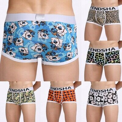 Men's Boxer Briefs Ultra Soft Sexy Printed Breathable Bulge Trunks Underwear