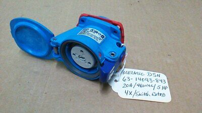 Meltric 63-14043-843 Dsn 20A 480Vac Switch Rated Receptacle / 4X / 5Hp