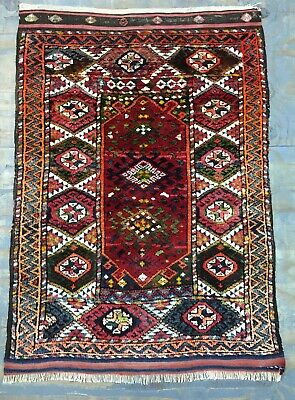 Wonderful Old Antique Turkish Bergama Rug 4.9x3.4 Ft