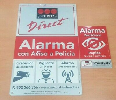 Placa alarma disuasoria grande Securitas Direct. Modelo 2018 Alarma Verisure