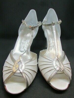 "Rachel Simpson Bridal Ivory and Gold ""Mimi"" Wedding Shoes, Size 9/43"