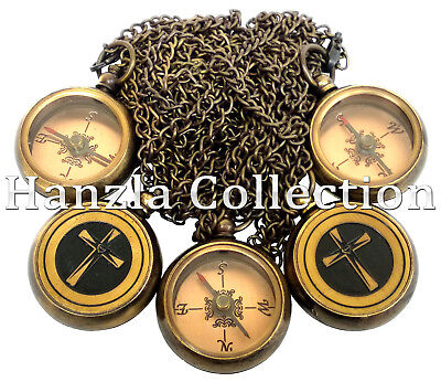 5 Pieces Antique Brass Locket Compass Nautical Maritime Pocket Gift With Chain