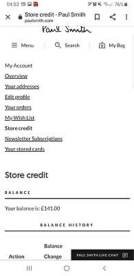 Paul Smith Digital Store Credit note Online Only. Worth £141 will sell for £110