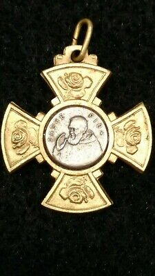 Vtg. St. Saint Padre Pio Cloth Relic Religious Catholic Holy Medal Cross Italy