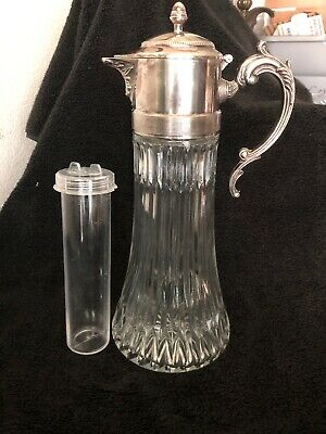Nice Vintage Glass Silver Plate Tall Lidded Water Pitcher W Ice Holder Insert