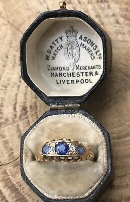 Antique Victorian 18ct Gold Sapphire And Diamond 5 Stone Ring.