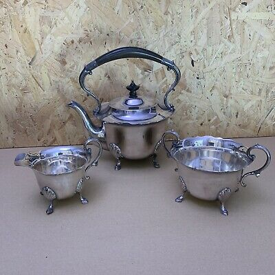 Vintage Mappin and Webb Silver Princess Plate Tea Set - Teapot, Jug & Sugar Bowl