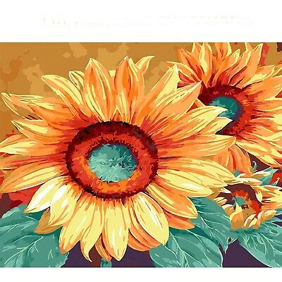 "SUNFLOWER FLORAL PAINT BY NUMBERS CANVAS PAINTING KIT 20 x 16"" FRAMELESS"