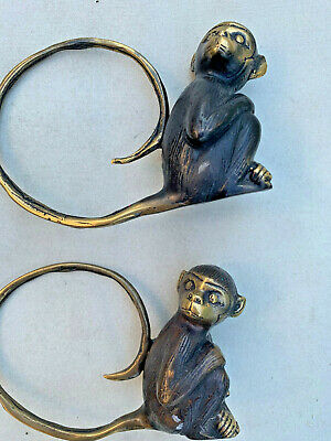2 monkey large tail rings statue hollow solid 100% brass aged old look hand made