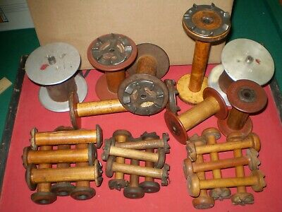 Assorted Vintage Industrial Wooden Spools Lots Of 26