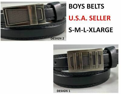 KIDS CHILDREN STITCHED LEATHER BELT Silver Belt Buckle Boys Sizes S M L XL
