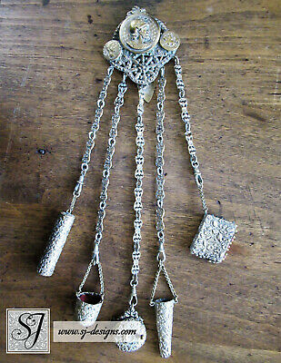Gilt Roman Soldier Chatelaine with 5 accessories & tools heavy floral embossing