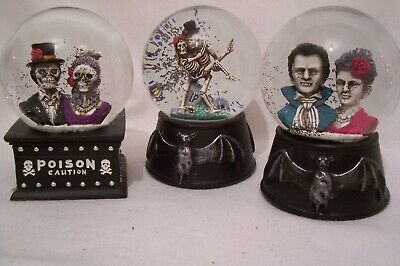 HALLOWEEN Large Spooky Black Glitter Gothic Snow Globes Dome by Gisela Graham