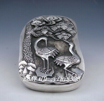 Old collectibles Tibetan Silver carving Large Heavy Ink Slab Cranes Pine Tree