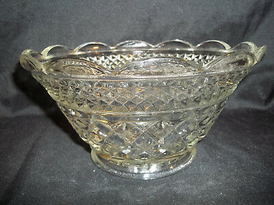 Vintage Cut Glass Bowl Serving Dish Diamond Cut Pattern Scalloped Edges Fruit
