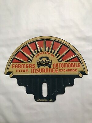 Farmers Auto Insurance >> License Plate Topper Farmers Auto Insurance Nos Rare 40s 50s
