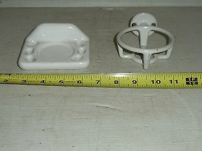 Old Vintage White Ceramic Porcelain Bathroom Toothbrush & Cup Holder