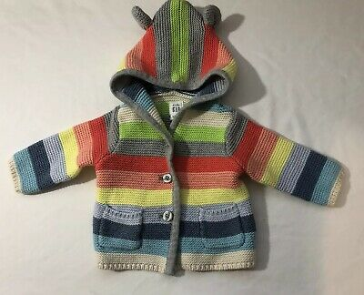 Baby Gap Infant Girl Striped Hooded Knit Cardigan Sweater 0-3 Months