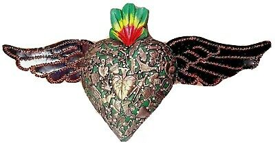 Milagros Tin Wings Flaming Wood Heart Mexican Folk Art Ex Voto Charm XL 14.5""