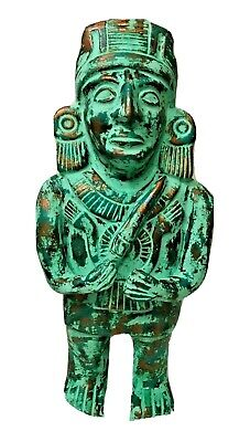 "Mexican Aztec Pre Columbian XL 21"" Turquoise Warrior Chieftain Folk Art Mayan"