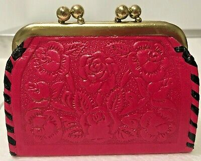 Women's 100% Leather Wallet Coin Purse Mexican Hand Tooled Pink