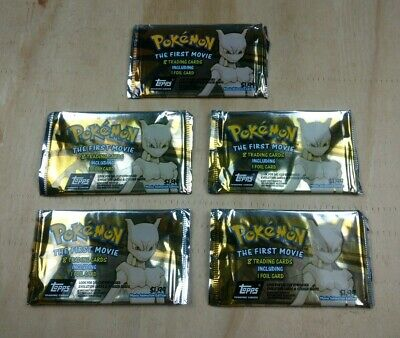 Vintage 1999 TOPPS Pokemon The First Movie - Lot of 5 EMPTY Foil Packs - Mewtwo
