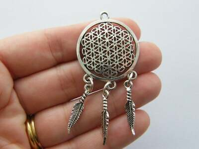 4 Flower of Life Charms Antique Gold Tone GC912