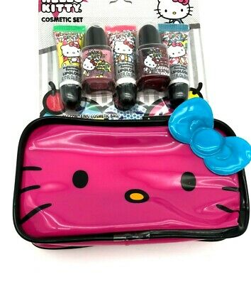 Hello Kitty Cosmetic Set Includes 3 Lip Glosses 2 Nail Polishes 1 Cosmetic Bag