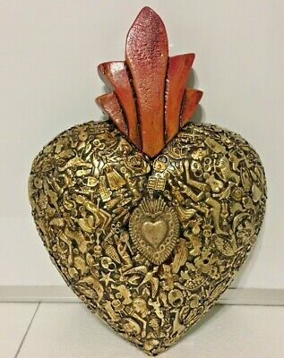 Mexican Milagros Sacred Extra Large Heart Wood Wall Plaque Ex Voto Folk Art
