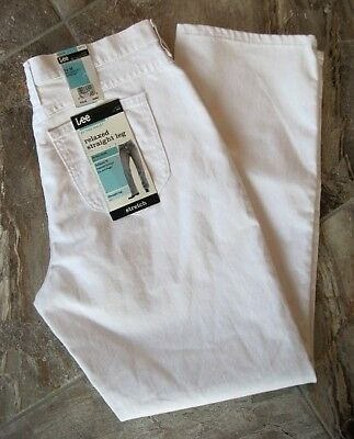New Lee White Stretch Denim Relaxed Straight Leg Jeans Pants  Womens 12 M NWT