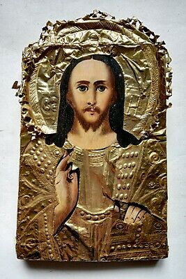 Antique 19c Orthodox Icon Jesus Christ Russian Empire Hand Painted Board 18x13cm