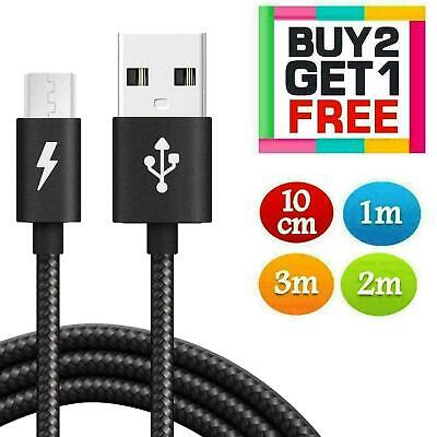 Long Braided Micro USB Data Lead Fast Phone Charge Charger Extension Lead Cable