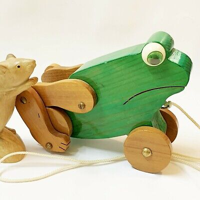 Child's Green Frog Wooden Pull-Along Toy with Moving Hind Legs, Victorian Made