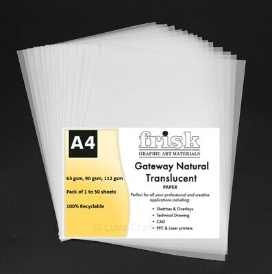 Gateway Natural Translucent Tracing Paper A4 Sheet 63gsm, 90gsm, 112gsm