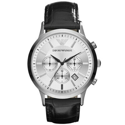*New* Mens Emporio Armani Silver Chronograph Watch - Ar2432 - Rrp £250.00