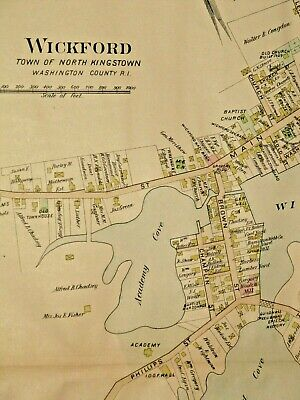 1895 WICKFORD & LaFAYETTE, RI., MAP REMOVED FROM EVERTS & RICHARDS ATLAS OF 1895
