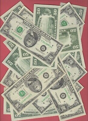 (1)  $50 Federal Reserve Fifty Dollar Bill..old Currency..small Heads