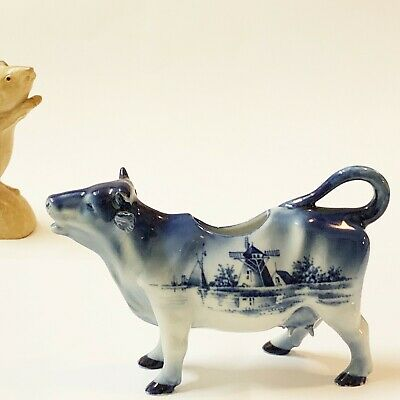 Stunning Delft Blue Cow Creamer / Milk Jug, Realistic Figure, Initialed on Belly