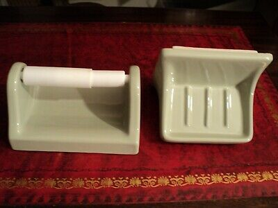 vintage ceramic bathroom fixture soap dish toilet paper holder light green color