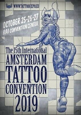 Amsterdam Tattoo Convention Poster Flyer 2019 Artist Vince Ruares Blue White B&W