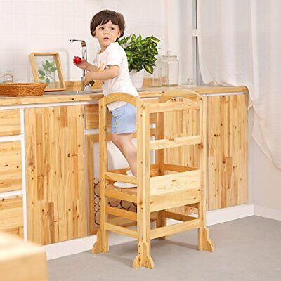 Kids Kitchen Step Stool White Toddlers Stool UNICOO- Bamboo Height Adjustable Kids Learning Stool