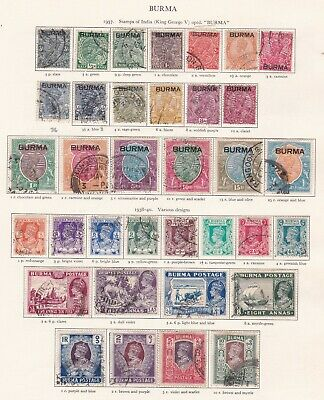 British Commonwealth. Burma. 1937-1946 issues. TWO SCANS. Very High CV. Used.