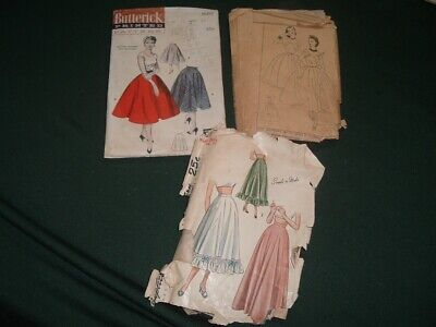3 Vtg Lot 40s-50s Midcentury Modern Dress Skirt Slip Sew Patterns Size12-14 #LK6