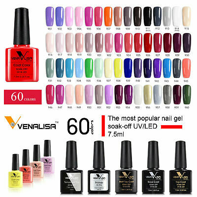 Nail Gel Polish Colours No Wipe Top Base Coat UV LED Varnish 60 Venalisa 7.5ml