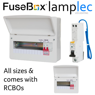 Fusebox Metal Consumer Unit with RCBOs 100A Main Switch RCBO Board - All Sizes