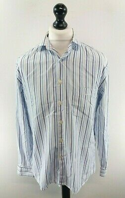 GANT Mens Shirt M Medium Blue White Stripes Egyptian Cotton