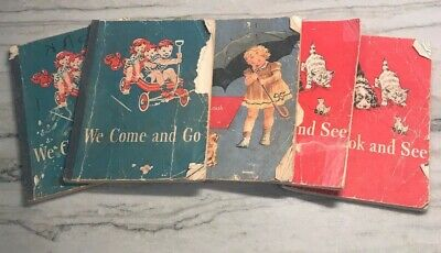 Dick and Jane Books Vintage Lot of 5 We Look & See We Come & Go Paperback 1946