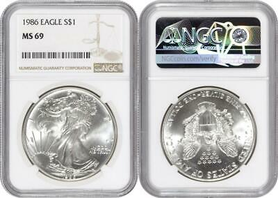 First Year of Issue 1986 American Silver Eagle NGC MS69 item #CJB027