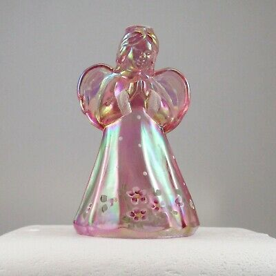 Fenton Praying Angel Pink Carnival Glass Angel #5014 Kd Rosemilk