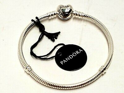 Pandora 8.3in. Moments Heart Clasp Snake Chain Bracelet STERLING SILVER 9719